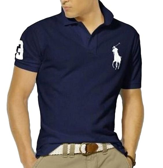 Polo Ralph Lauren Shirt for Men Navy with White Pony Short Sleeve (L)