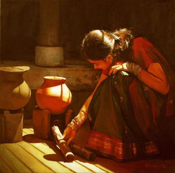 rural india woman | Rural Indian Women Paintings by Tamilnadu artist ilayaraja