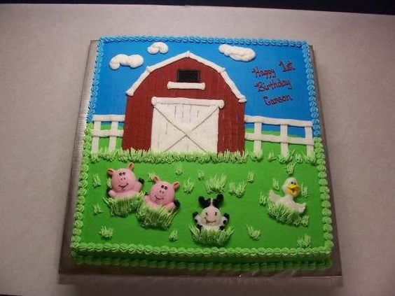 This was for my friends little boy.  It is a 16x16 dark chocolate fudge cake.  All buttercream except the animals.  These were candles she provided.