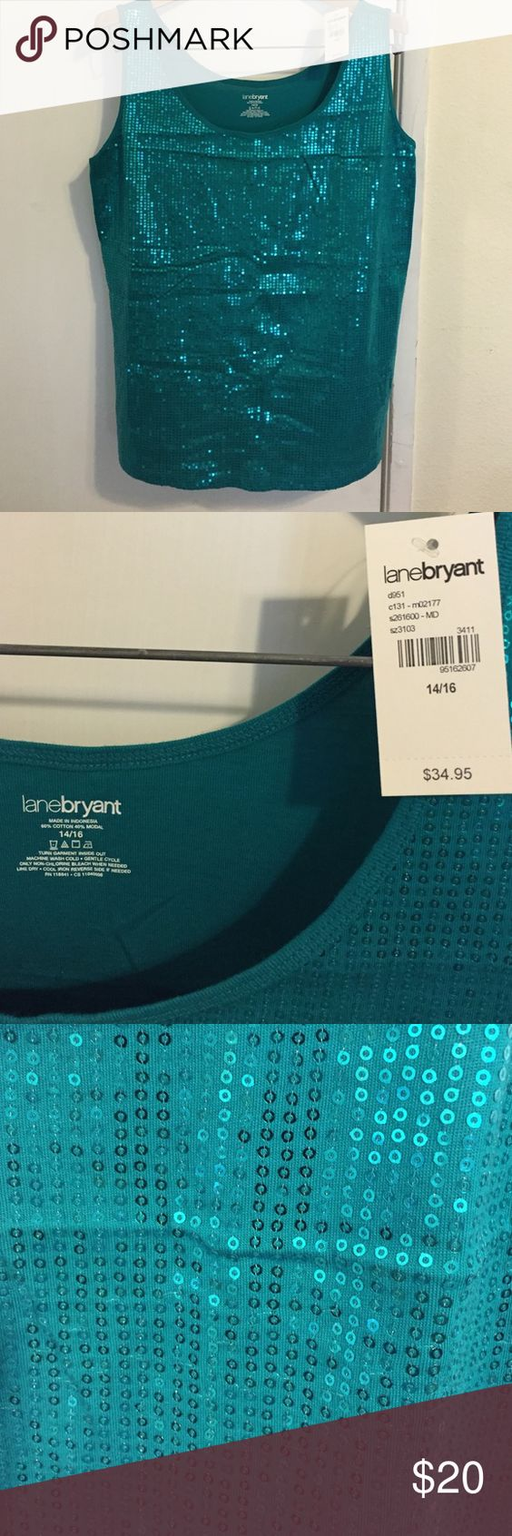 Sparkling teal tank top! BRAN NEW with TAG!! Teal with sequences down the front. None down the back. Lane Bryant size 14/16. Lane Bryant Tops Tank Tops
