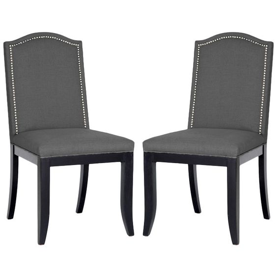 Nail head dining chairs and chairs on pinterest for Dining room head chairs