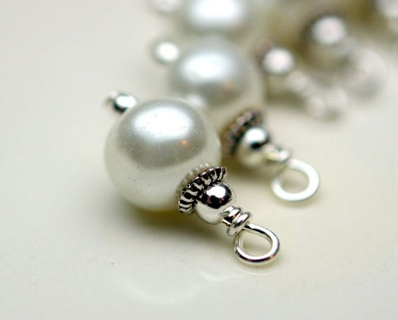 Bead Dangle Charm Drop set in White Pearl and Silver.
