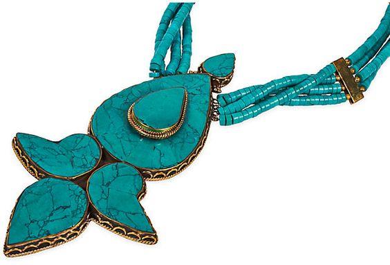 Tibetan Turquoise Medallion Necklace