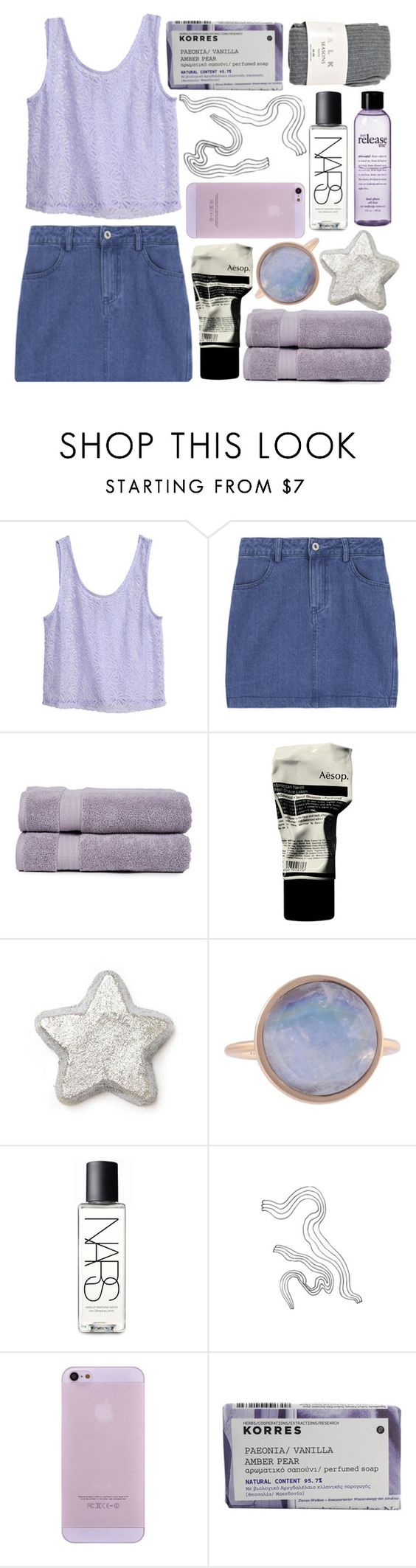 """△ a little party never hurt no one, not you and me△"" by alaskas-diary ❤ liked on Polyvore featuring beauty, H&M, Pure Fiber, Aesop, Kelly Wearstler, NARS Cosmetics, Korres and Falke"