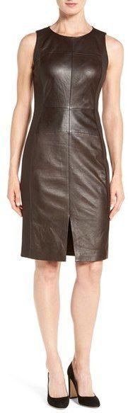 Classiques Entier ® Leather & Ponte Sheath Dress, Leather Dress, schwarz, black, Leder Outfits, Ledermode, Leather, Fashion, Dress