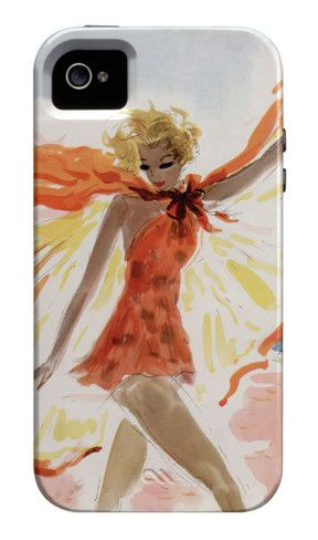 This beach beauty pulled together a flowing orange and yellow swim ensemble for her stroll in the surf. The Helen Jameson Hall illustration appeared on the June 1936 cover of Mademoiselle to represent the issue's beach, travel, and fashion features.  Mademoiselle 6/1/1936 iPhone 4/4S Case. $39.95