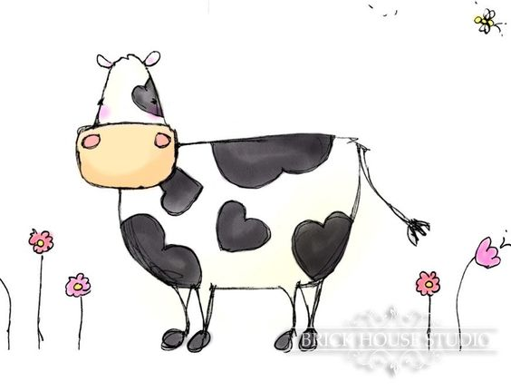 Country Cow with Heart - 8 x 10 Childrens Illustration. $12.00, via Etsy.
