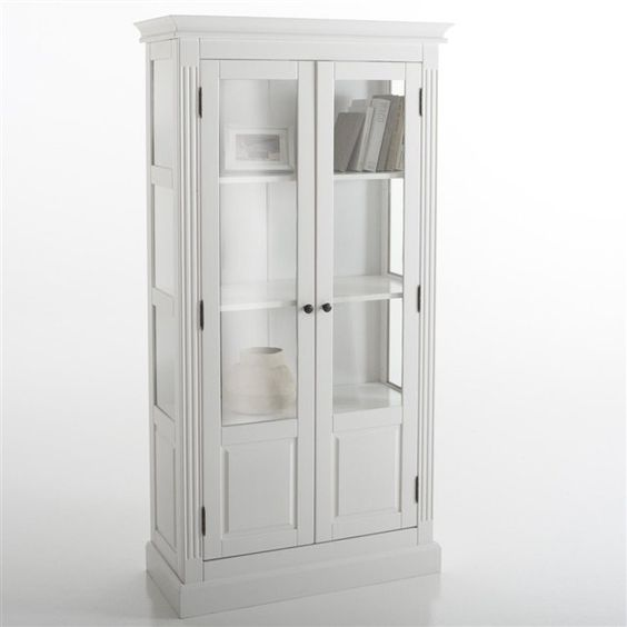 biblioth que vitr e pin massif coloris blanc authentic style la redoute interieurs prix. Black Bedroom Furniture Sets. Home Design Ideas