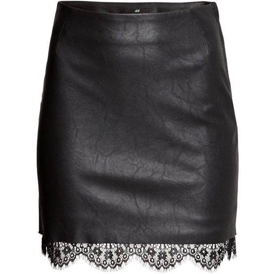 H&M Imitation leather skirt (310 MXN) ❤ liked on Polyvore featuring skirts, h&m, black, bottoms, leather, black faux leather skirt, fake leather skirt, h&m skirts and black skirt