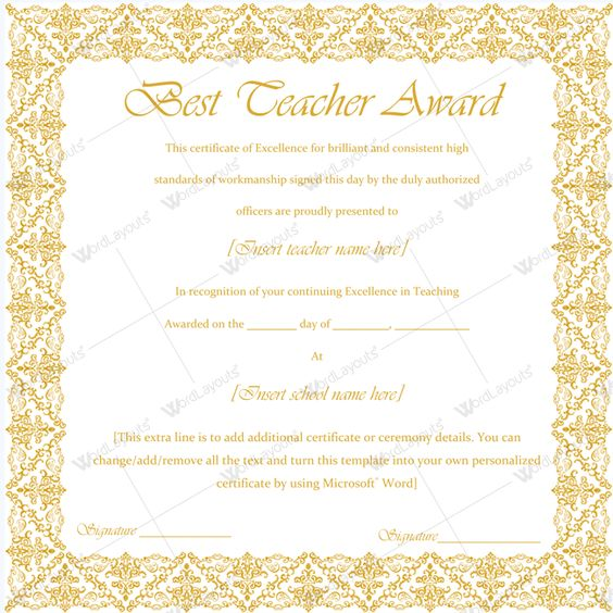 Best Teacher Award Certificate Template Word #Certificate