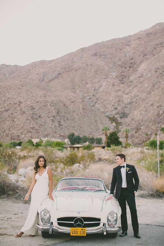 rent/borrow? Vintage Mercedes wedding car via http://ruffledblog.com/elegant-palm-springs-wedding