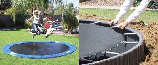 Trampolin Fur Den Kinderspielplatz Im Freien In 2020 Backyard Trampoline Outdoor Trampoline