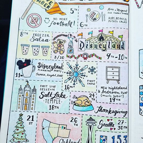 Monthly Memories - November 2016  I finished this yesterday and used every ounce of self-control to not post it then. I love it! Isn't @doodling fun?! I love remembering my month like this. . . .  #bujojunkies #bujo #bulletjournal #bullet #journaling #journal #tracker #habittracker #bujotracker #planwithme #planwithmechallenge #weightloss #weighttracker #dailytracker #leuctturm1917 #bulletjournallove #bohoberrytribe #bulletjournalcommunity #bujocommunity #bujolove #bulletjournaljunkies #bujoj...