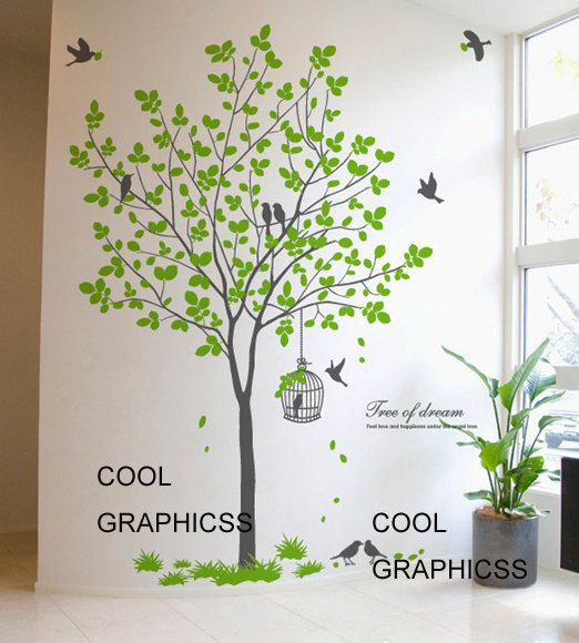 Green tree with birds and cage -Vinyl Wall Decal Sticker Art, Mural,Wall Hanging. $67.00, via Etsy.