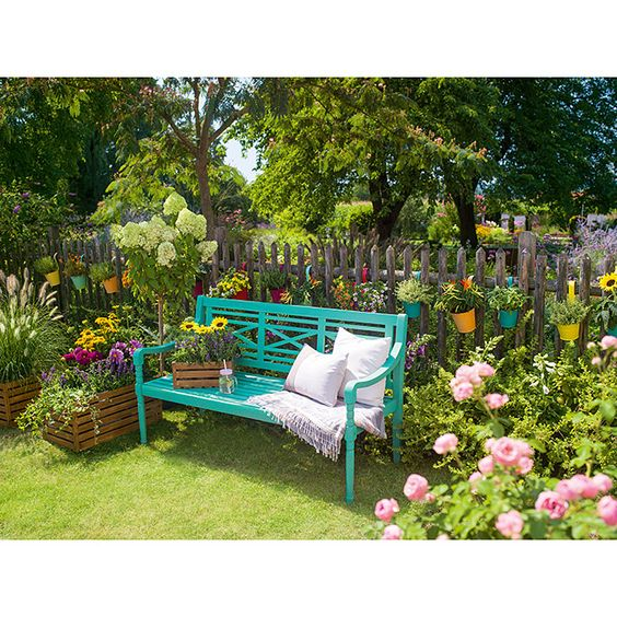 Sunfun Gartenbank Alea 150 X 62 X 87 Cm Akazie Turkis Gartenbank Garten Gartenparadies