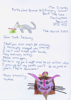 Jack Trelawny Free School Author Visit to Martlesham Beacon Hill Primary School. After-visit letter from pupil. To book a visit, email Jane Bennett, Events Manager: info@campionpublishing.com