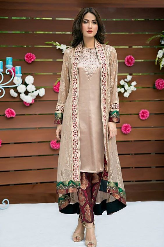 Stitching Styles Of Pakistani Dresses Dark Grey Jacket Style