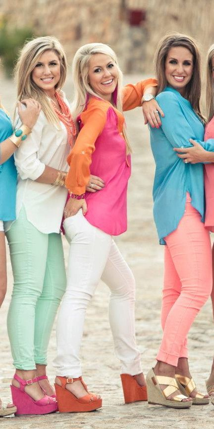 Bright Coral Skinny Jeans $50.00  :: Bella Couture : Shop BellaC ::