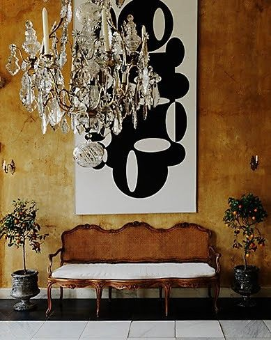 Beautiful juxtaposition of antique furniture with modern poppy art  #antique #modern: