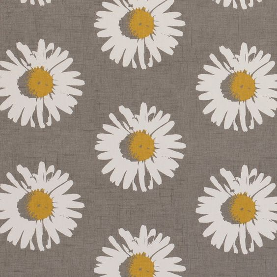 Yellow Grey Upholstery Fabric Modern Floral Daisy Fabric Grey Yellow Floral Drapery Fabric