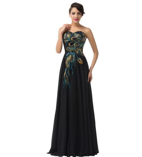 Black Peacock Long Women's Formal Dress - Bridesmaids - Prom - Party