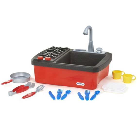LITTLE TIKES SPLISH SPLASH SINK&STOVE - Kids will have plenty of hands on experience with this sink and stove combo! Accessories, clicking knobs and a range of accessories help stimulate imaginary play! #toysfortoddlers #planetfun #littletikes #planetfunnz