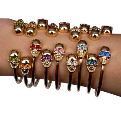 Swarovski Crystal Skull Bangles - Choose Your Color