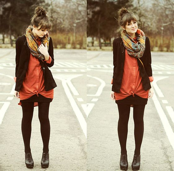 Oversized pumpkin colored button down Cubus Shirt, black lace up Wedges, black blazer and multicolored patterned infinity scarf