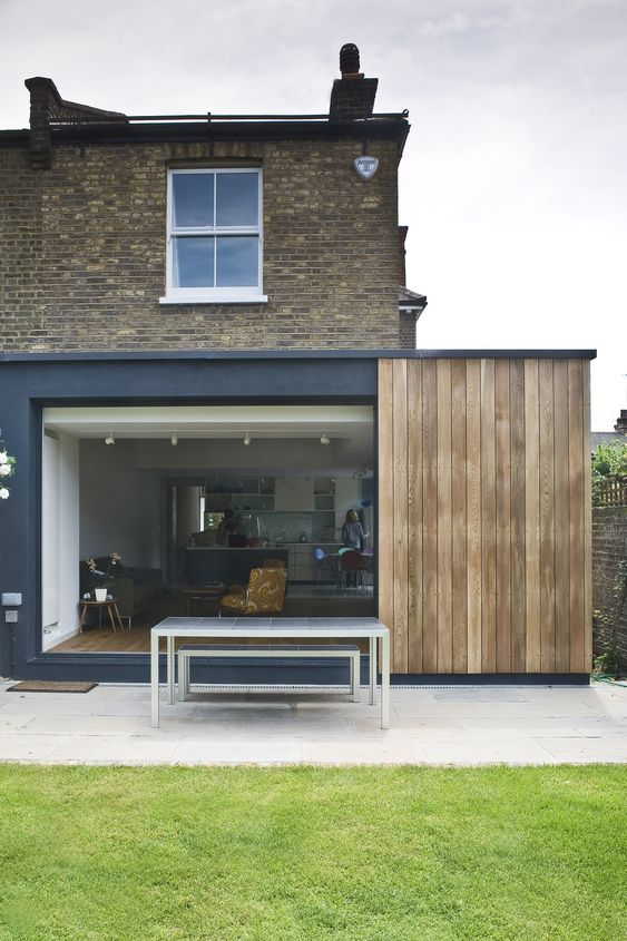 Kitchen Extension Sliding Doors And Cedar Cladding By