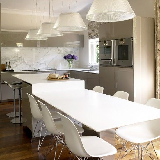 Modern And Made For Living Two Tier Island And Beautiful Marble Splash Back Are Stand Out Kitchen Island Dining Table Ikea Kitchen Island Kitchen Island Plans