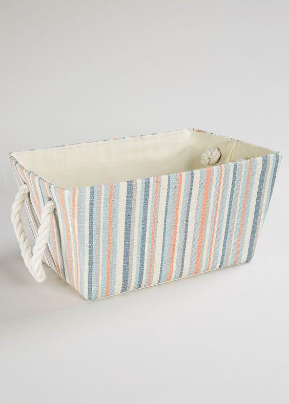 Stripe Storage Tray (25cm x 36cm x 18cm) - Matalan