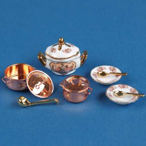 Sepia Rose & Copper Soup Set by Reutter Porzellan
