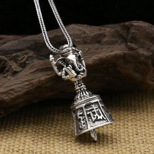 """Men's Sterling Silver Geneisha Bell Necklace with Sterling Silver Wheat Chain 18""""-24"""""""