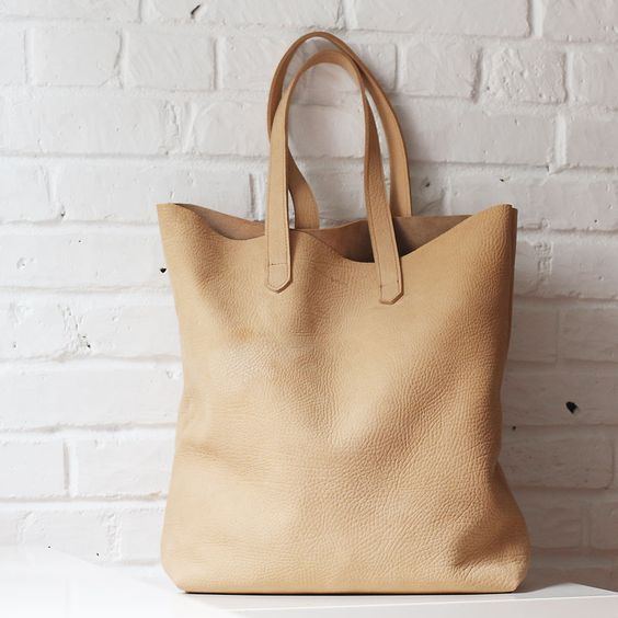 Montauk camel tan nubuck leather tote // Shannon South // made in USA: