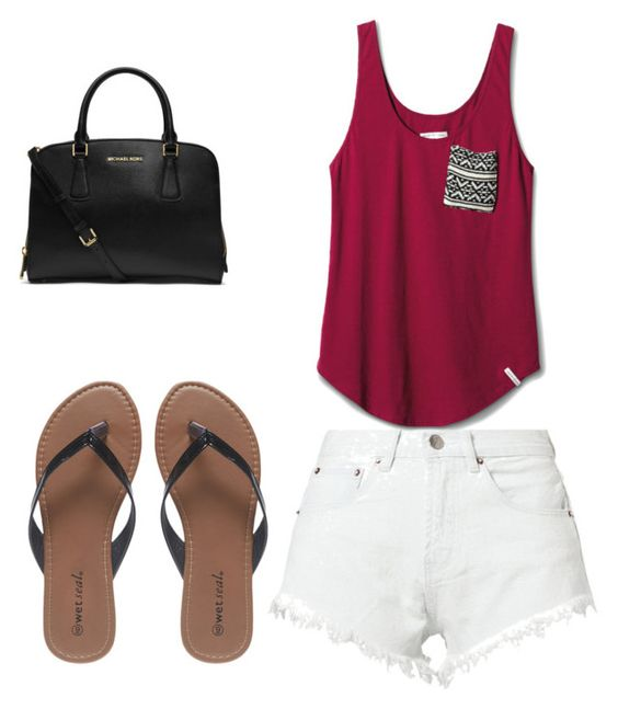 Simple look by abbymarie715456 on Polyvore featuring polyvore, fashion, style, TOMS, Bitching & Junkfood, Wet Seal, MICHAEL Michael Kors and clothing