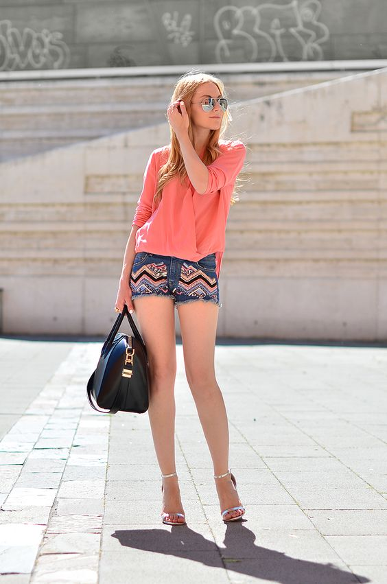 Top and shorts by Zara, silver sandals by Asos, bag by Givenchy. (ohmyvogue.com, June 5, 2013)