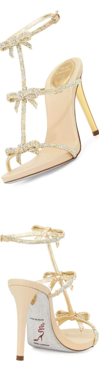 Rene Caovilla  Bow Crystal T-Strap Sandal
