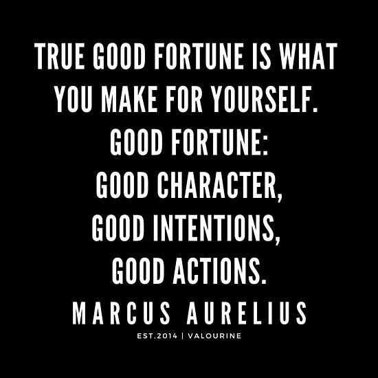 True Good Fortune Is What You Make For Yourself Good Fortune Good Character Good Intentions Good Actions Marcus Aurelius Quotes Stoic Quotes Poster Stoic Quotes Fortune Quotes Stoicism Quotes