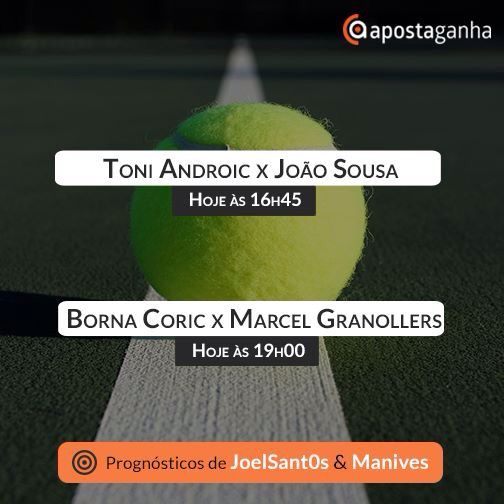 Top #Tipsters AG de luxo para as partidas de #tenis de hoje:  http://bit.ly/borna-coric-x-marcel-granollers-umag-Manives  http://bit.ly/borna-coric-vs-marcel-granollers-umag-JoelSantos  http://bit.ly/toni-androic-vs-joao-sousa-umag-Manives  http://bit.ly/toni-androic-vs-joao-sousa-umag-JoelSantos  #apostas #apostasonline #apostasdesportivas #apostasesportivas #tennis #JoaoSousa #tennis #atp #umag #bornacoric vs #marcelgranollers #toniandroic #granslam #match #sport #bets #betting #sports