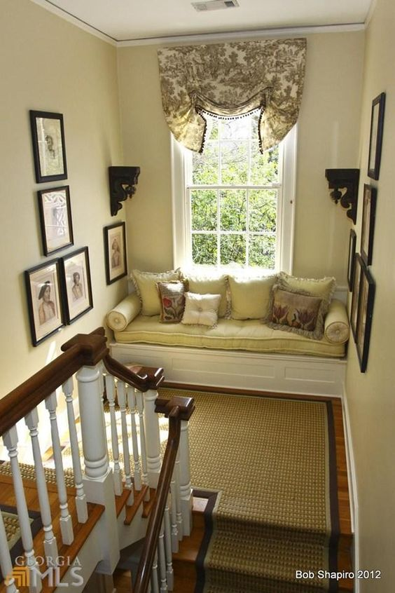 Romantic Window Seat on Landing of Historic Home....it is romantic, but I have a feeling the dogs would just end up taking it over!!