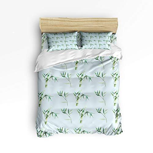 Duvet Cover Set Twin Size Watercolor Green Bamboo And Leaves Printed Pattern Soft Stylish Home Decor Duve Patterned Bedding Sets Duvet Cover Sets Duvet Covers