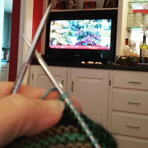 """Happy New Year! Rose Bowl Parade. Huge marching band of 782 from Allen Texas!! I have repaired my knitting mistake from last night's """"knitting with wine."""" by jeffcityknitter"""