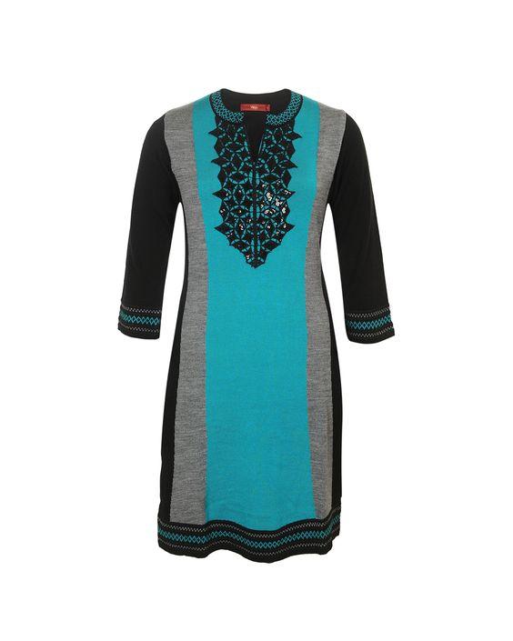 Turquoise color kurti.