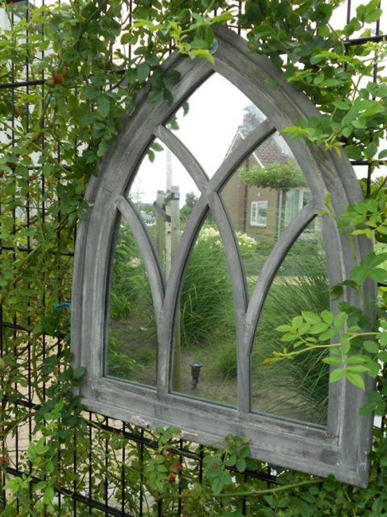 Esschert Design Spiegel - Gotisch raam - GRIJS