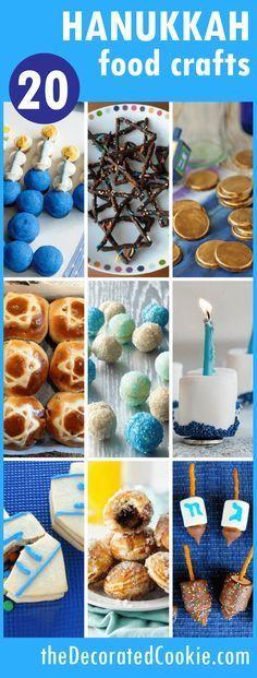 A roundup of 20 Hanukkah fun food crafts -- food ideas for Hanukkah