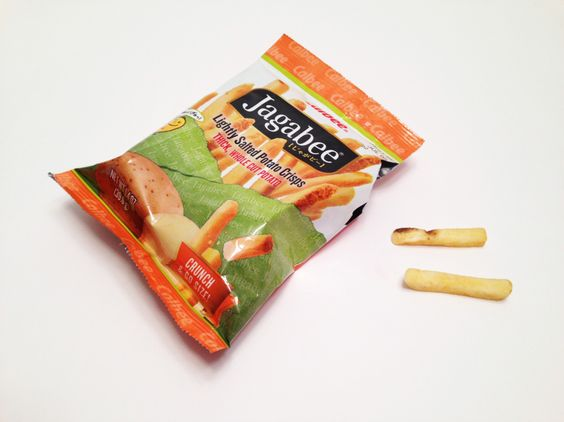 MUNCHABLE FRENCH FRIES Jagabee Potato Crisps: What if you took French Fries, and cooked them like potato chips? You'd get this delicious snack! And would you believe this still tastes good with Ketchup? We tried it as a joke, but it was so yummy, we had to include some in the Box!