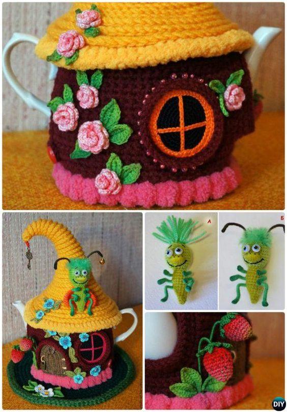 25 Crochet Knit Tea Cozy Free Patterns Picture Instructions Cozy cover, Kit...