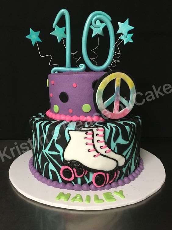 Roller skating party cake