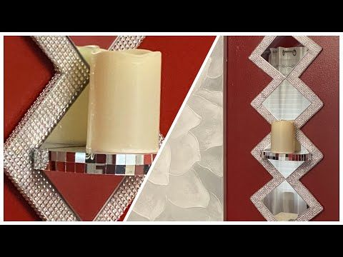 Dollar Tree Diy Glam Mirror Wall Sconce Home Decor Youtube In 2020 Diy Wall Art Decor Diy Wall Sconce Candle Diy Dollar Tree Decor