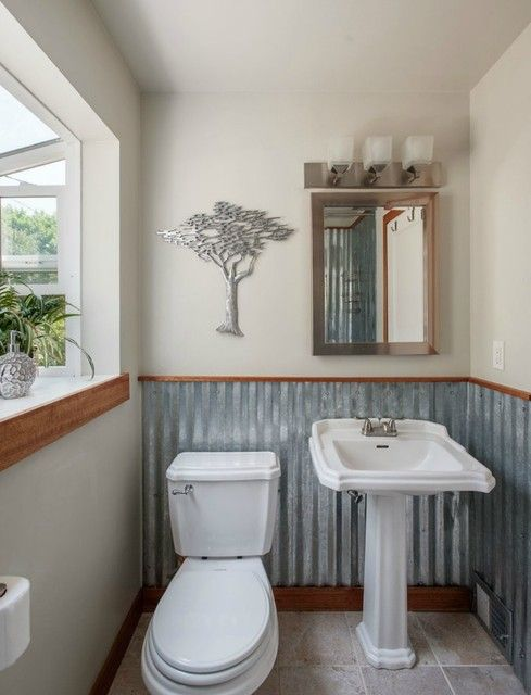 Corrugated metal  half bath. I love this look. This as a kitchen backsplash would be AMAZING!